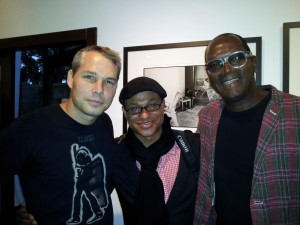 Shepard Fairey, Clinton H. Wallace and Dennis Morris. Photo credit: Demi Goddess Chronicle