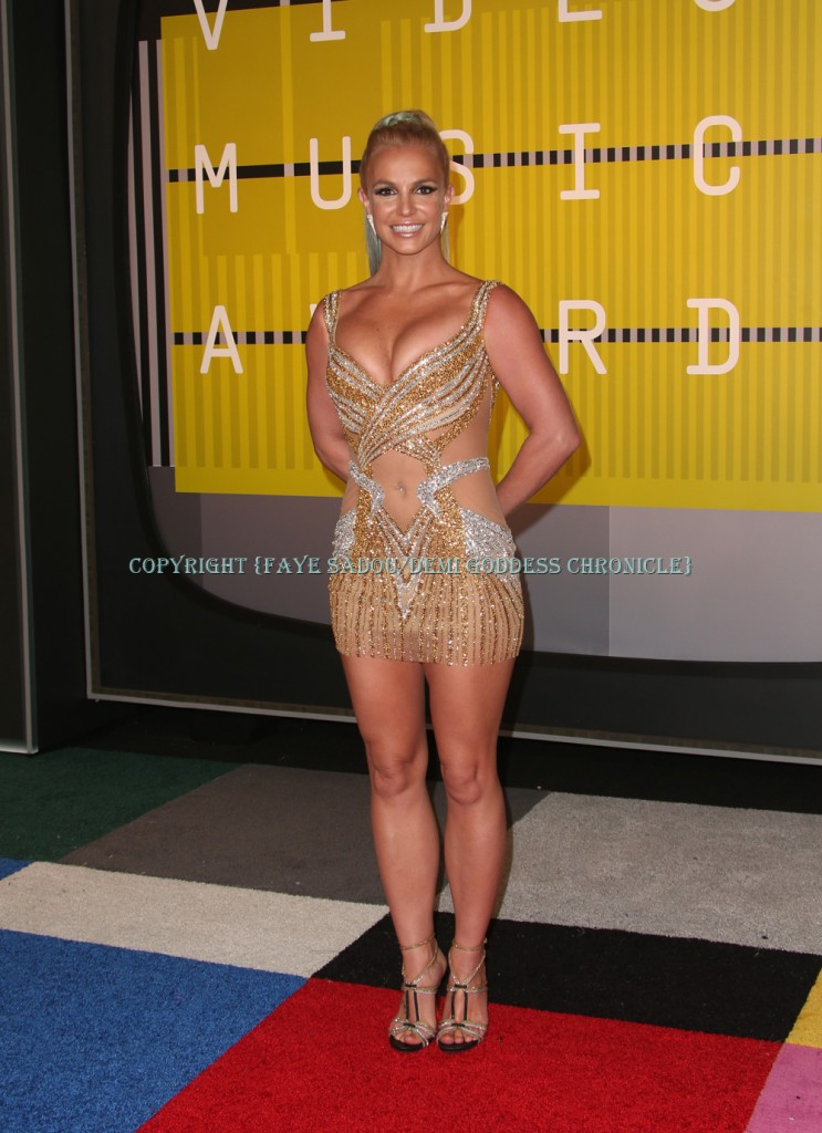 Britney Spears in a minidress by Labourjoisie at the  2015 MTV Video Music Awards Photo Credit: Faye Sadou/DemiGoddessChronicle.com