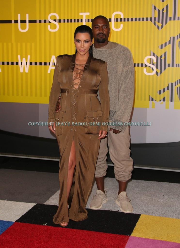 Kim Kardashian & Kanye West Attend 2015 MTV Video Music Awards Photo Credit: Faye Sadou/DemiGoddess Chronicle