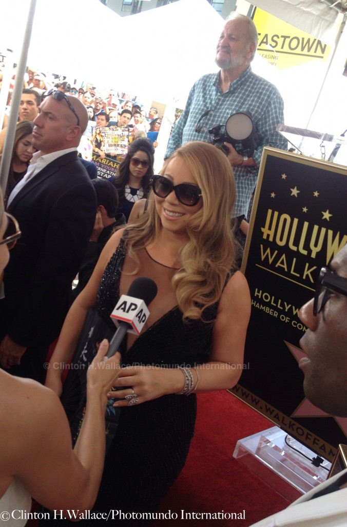 Mariah greets Media at her Hollywood Walk Of Fame Star Ceremony.   Photo Credit: ©Clinton H. Wallace/Photomundo International/DemiGoddessChronicle, all rights reserved