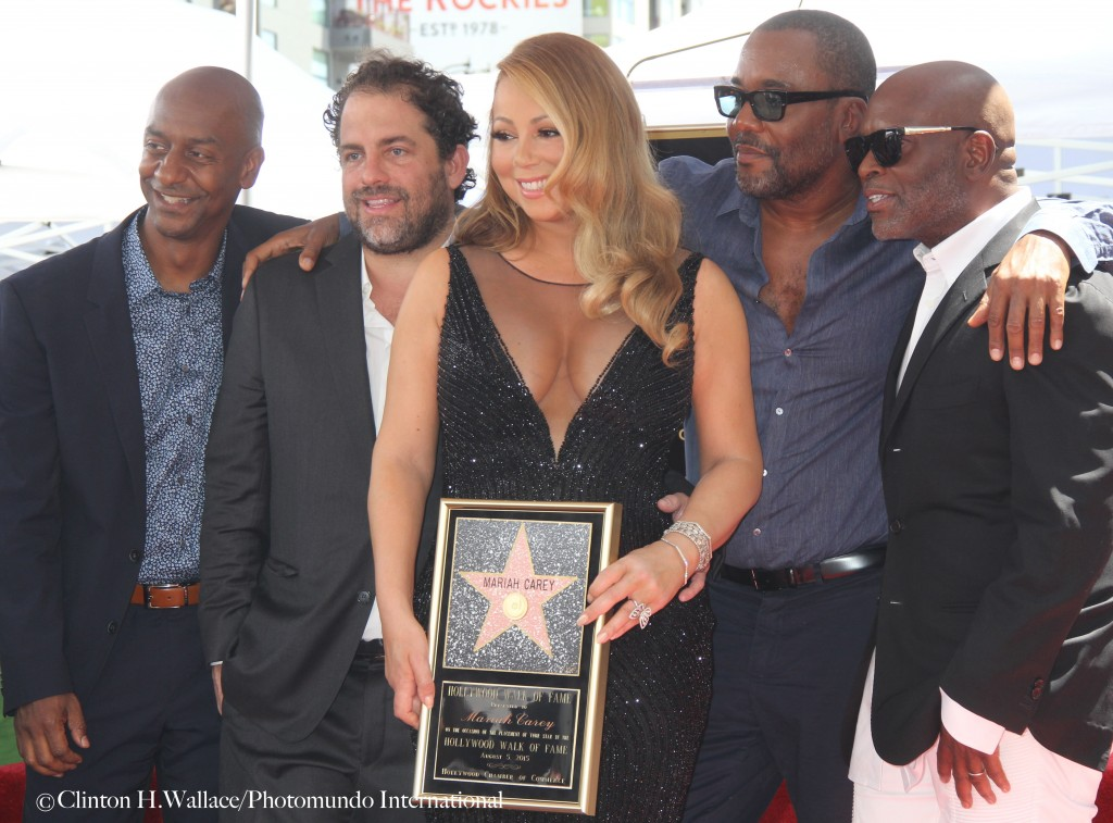 BET Network's Stephen Hill, Brett Ratner,Mariah Carey, Lee Daniels and Epic Record's L.A. Reid celebrating with Mariah at her Hollywood Walk Of Fame Star Ceremony.   Photo Credit: ©Clinton H. Wallace/Photomundo International/DemiGoddessChronicle, all rights reserved