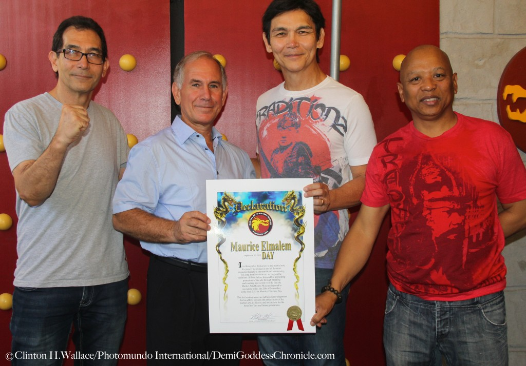 "James E. Wilson, Grand Master Maurice Elmalem, Don ""The Dragon"" Wilson & Ewart Chin Celebrate Maurice Elmalem Day at The Martial Arts History Museum, Burbank, Ca ©Clinton H.Wallace/Photomundo International/DemiGoddessChronicle.com"
