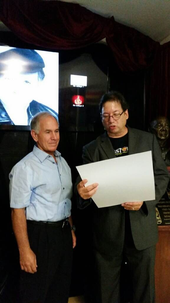 Michael Matsuda ( Museum President) and Grand Master Maurice Elmalem attend Maurice Elmalem Day Celebration Ceremony at The Martial Arts History Museum, Burbank, CA Photograph courtesy of Maurice Elmalem Archives