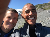 """Glad this was the only bear I met in the park,"" captioned President Obama as he posed for this selfie with NBC's Bear Grylls Photo Credit: The White House @Whitehouse/Instagram screenshot by Clinton H.Wallace/DemiGoddessChronicle"