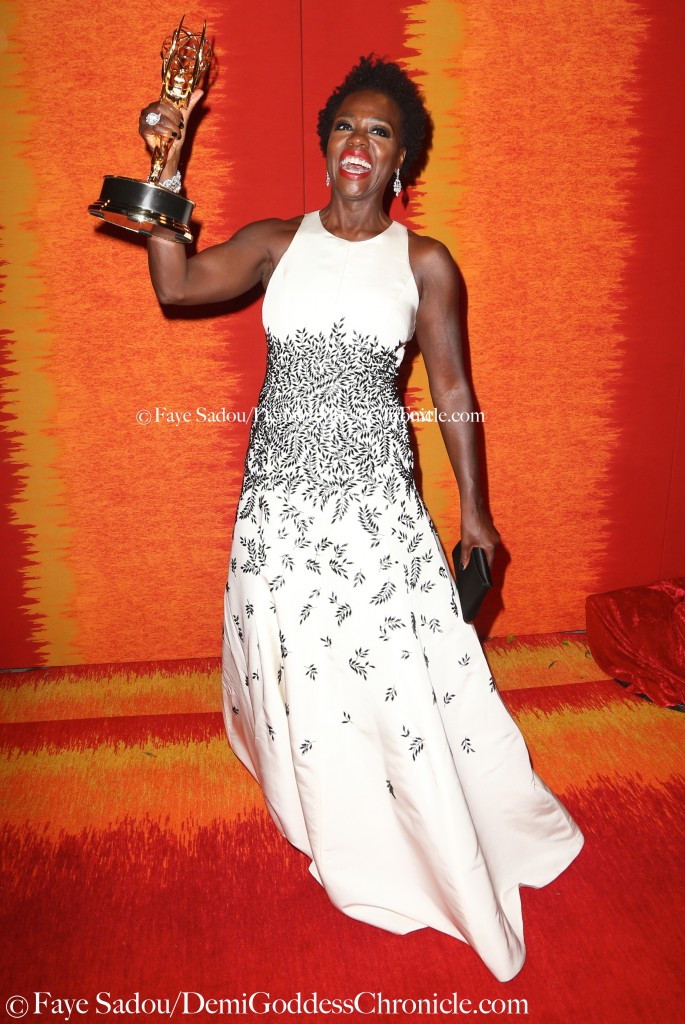 """How to Get Away With Murder"" Star Viola Davis celebrate her historic Emmy win for lead actress in a drama ©Faye Sadou/DemiGoddessChronicle.com"
