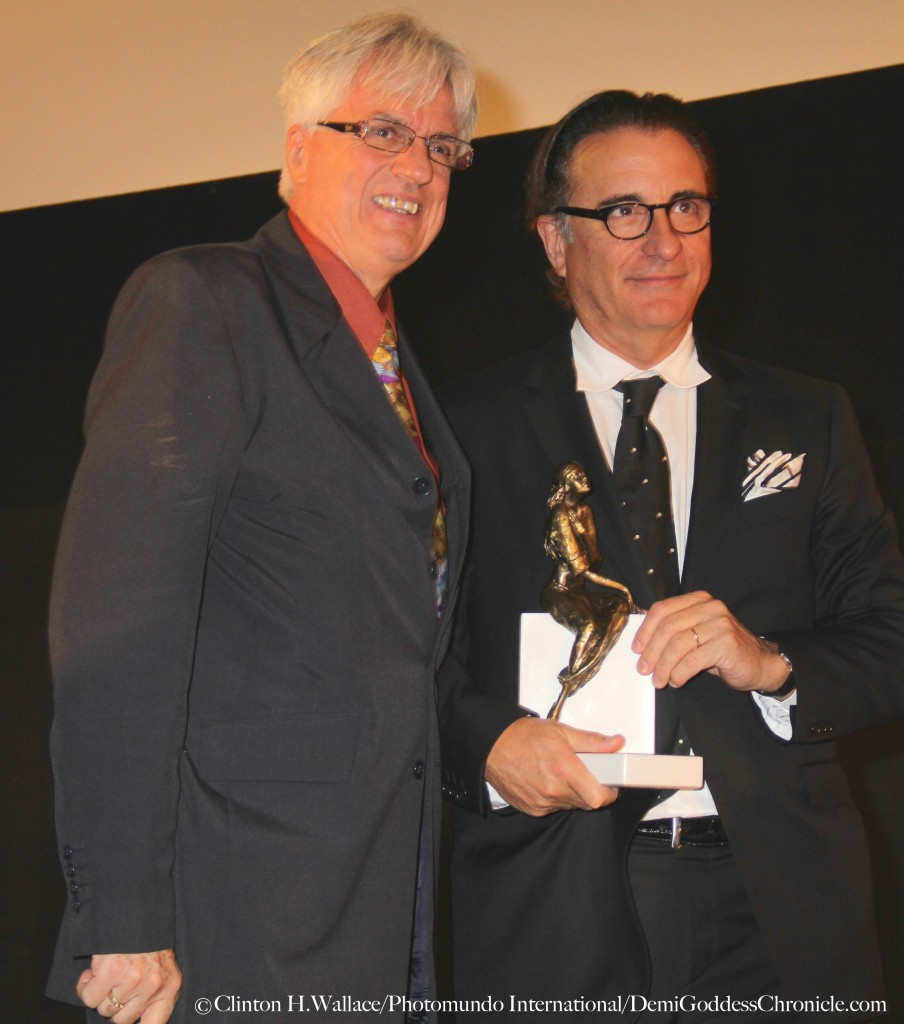 Vladek Juszkiewicz - Festival director/founder presents Andy Garcia  With The Pola Negri Award at the 16th annual Polish Film Festival LA Photo: Clinton H.Wallace/Photomundo International/DemiGoddessChronicle.com
