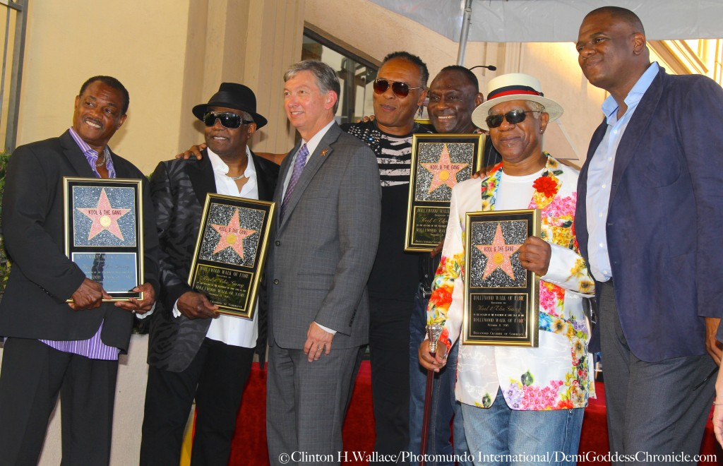 "Robert ""Kool"" Bell, Ronald Khalis Bell, Leron Gubler, Ray Parker Jr,  Dennis ""DT"" Thomas,  & George Brown attend ""Kool & The Gang""  Hollywood Walk Of Fame Star Unveiling Ceremony. Photo Credit: Clinton H.Wallace/Photomundo International/DemiGoddessChronicle.com"