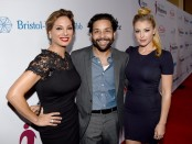 (L-R) Actors Alex Meneses, Izzy Diaz, and Jadyn Douglas attend the 9th Annual Comedy Celebration, presented by the International Myeloma Foundation, at The Wilshire Ebell Theatre on October 10, 2015 in Los Angeles, California.  (Photo by Kevin Winter/Getty Images for International Myeloma Foundation)