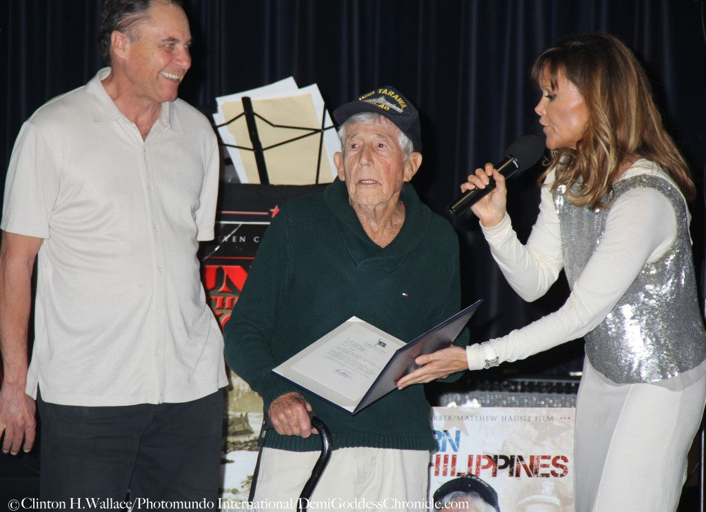 "Vanilla Fire Production's Tamara Henry and Matthew Hausle with Leon Cooper,  attend ""Return to the Philippines: The Leon Cooper Story"" Veterans Day 2015 Celebration at American Legion Post 43, Hollywood, CA ©Clinton H.Wallace/Photomundo International/DemiGoddessChronicle"