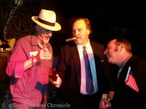 """CigarMan Andy"", Jim Belushi and actor Richard Halpern. Photo credit DemiGoddess Chronicle"