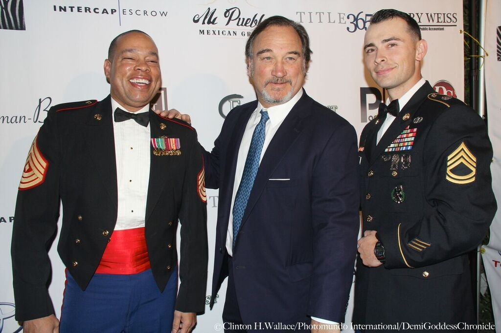 First Sgt Harvey Walden, Jim Belushi and Staff Sgt. Photo Credit: Clinton H. Wallace/DemiGoddess Chronicle