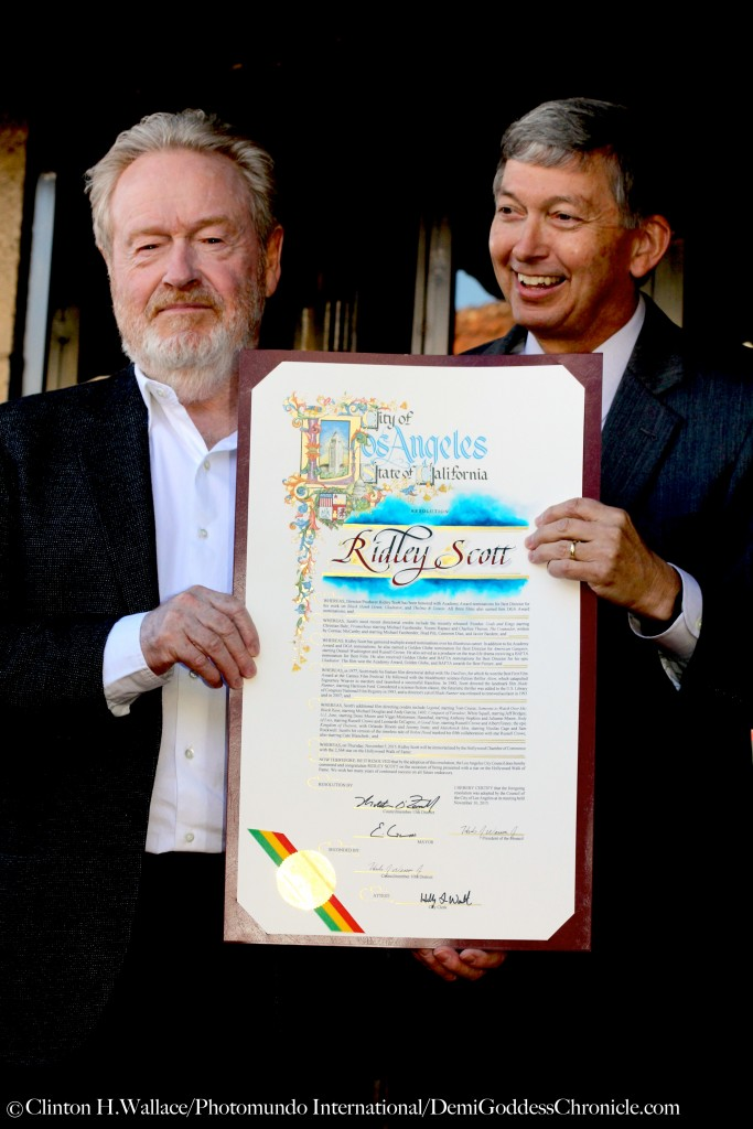 Leron Gubler presented Sir Ridley Scott With A Proclamation honouring the Award Winning British Filmmaker's trail blazing career in Hollywood ©Clinton H. Wallace/Photomundo International/DemiGoddessChronicle.com