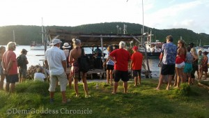 Crowd on Hog Island enjoying the Sunday entertainment. Photo credit: demigoddess chronicle