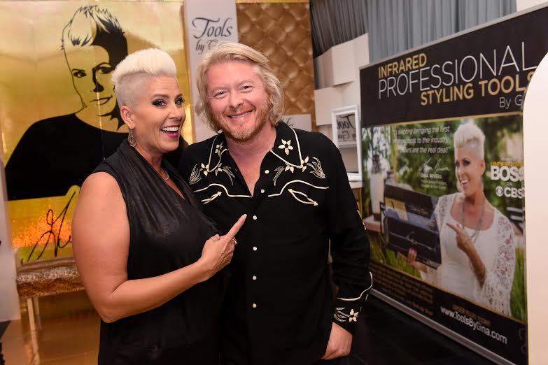 58th Annual GRAMMY Awards® -GRAMMY® Winning Musician Phillip Sweet with Gina Rivera backstage at Distinctive Assets GRAMMY® Gift Lounge. Photo Courtesy of Distinctive Assets Photo Credit: Vivien Killilea/WireImage