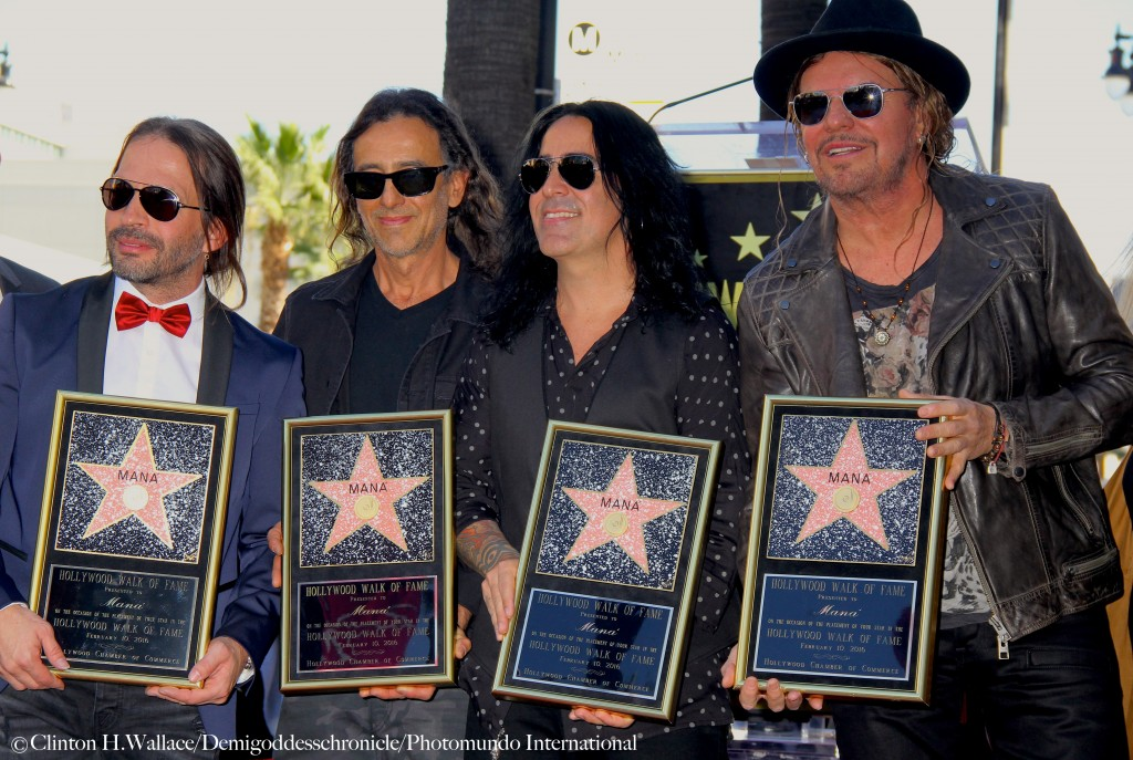 Mana' band members Sergio Vallín, Juan Calleros, Alex González and Fher Olvera received the 2,573rd star on the Iconic Boulevard ©Clinton H.Wallace/DemiGoddessChronicle/Photomundo International