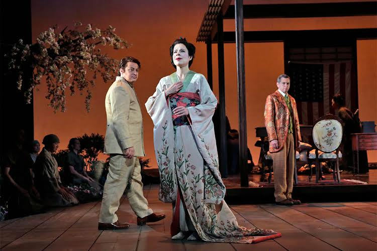Ana Maria Martinez as Cio-Cio-San, with Stefano Secco (left) as Pinkerton and Keith Jameson (right) as Goro Photo by Ken Howard for LA Opera