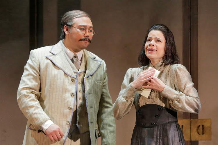 Kihun Yoon as Sharpless and Ana Maria Martinez as Cio-Cio-San Photo by Ken Howard for LA Opera
