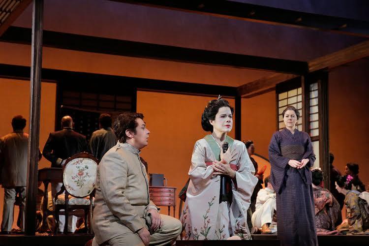 Ana Maria Martinez as Cio-Cio San (center), Stefano Secco (left) and Milena Kitic as Suzuki (right) Photo by Ken Howard for LA Opera