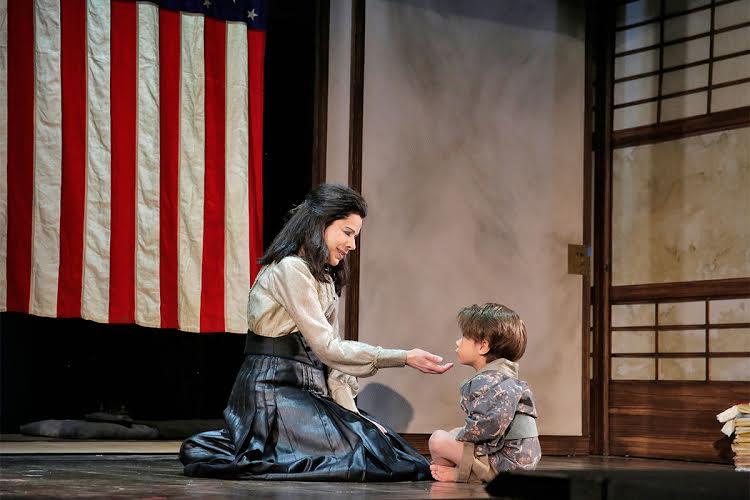 Ana Maria Martinez as Cio-Cio-San and Nicholas Cuenca Terry as her son. Photo by Ken Howard for LA Opera