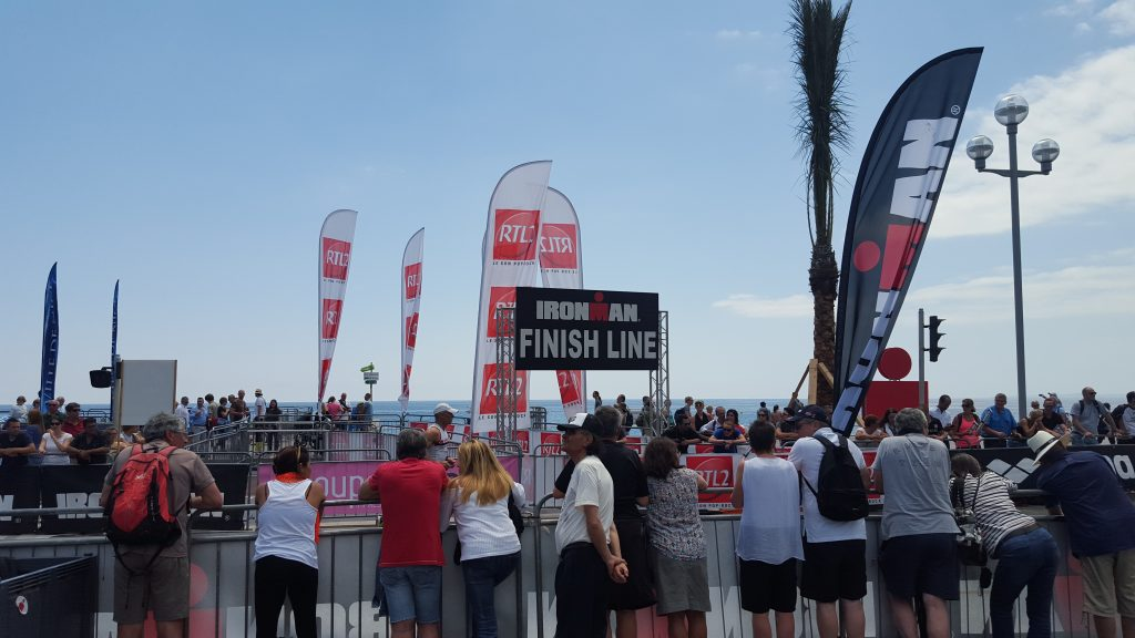 The IRONMAN Finish Line on the Promenade des Anglais. Photo by Bill Rapp/DemiGoddessChronicle.com