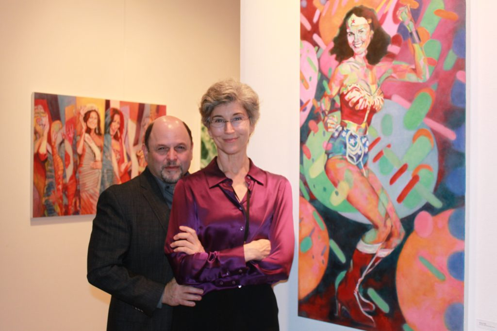 Expressionist artist Daena Title with husband Jason Alexander. Photo credit: DemiGoddessChronicle.com
