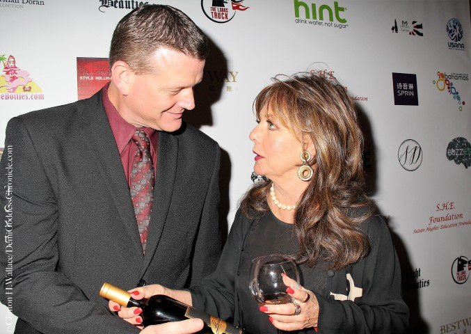 Lorimar Winery's director of operations Matt O'Doherty and actress Dawn Wells from Gilligans Island. Photo credit: ClintonH.Wallace/DemiGoddessChronicle.com