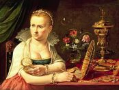 Self Portrait of the Flemish Baroque still-life painter, Clara Peeters.