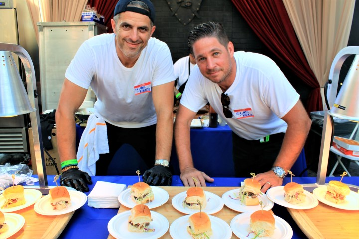 Burt Bakman (L) and Tony LaPenna representing Slab BBQ. Photo credit: DemiGoddessChronicle.com