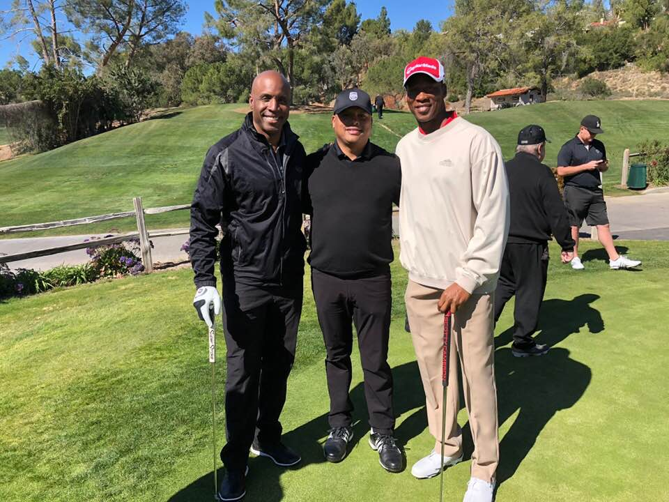 Baseball player Barry Lamar Bonds, Golfer Tony High and Lakers former coach Byron Scott. Photo courtesy Tony High for DGC.