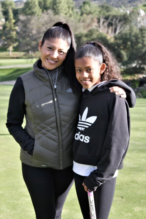 Mother Noa Ochi and future 10 year old pro-golfer Koa Seymour. Photo credit: DGC