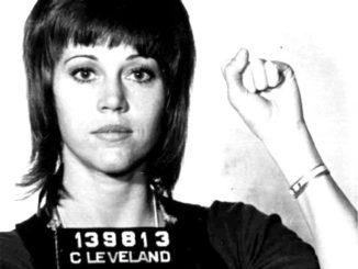 Jane Fonda protesting during civil rights 1960's.