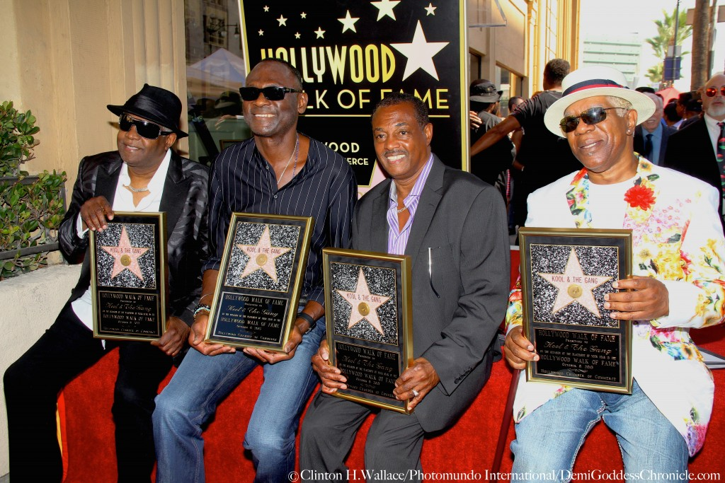 """Celebration Time as Ronald Khalis Bell, Dennis """"DT"""" Thomas, Robert """"Kool"""" Bell, George Brown of the Iconic band Kool & The Gang receive their Star on The Legendary Hollywood Walk Of Fame Photo Credit: Clinton H.Wallace/Photomundo International/DemiGoddessChronicle.com"""