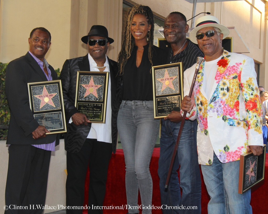 """Robert """"Kool"""" Bell, Ronald Khalis Bell,, Tasha Smith,  Dennis """"DT"""" Thomas,  & George Brown of attend """"Kool & The Gang""""  Hollywood Walk Of Fame Star Unveiling Ceremony. Photo Credit: Clinton H.Wallace/Photomundo International/DemiGoddessChronicle.com"""