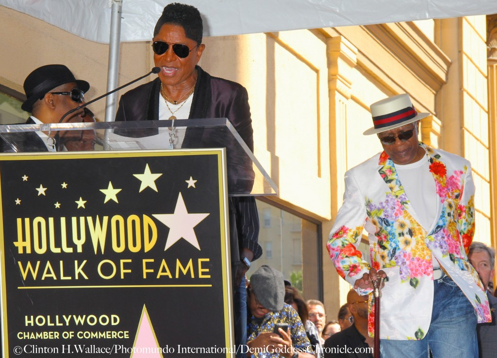 """Jermaine Jackson flanked by Ronald Khalis Bell and George Brown of """"Kool & The Gang"""" congratulates the band on receiving their Star on The Legendary Hollywood Walk Of Fame Photo Credit: Clinton H.Wallace/Photomundo International/DemiGoddessChronicle.com"""