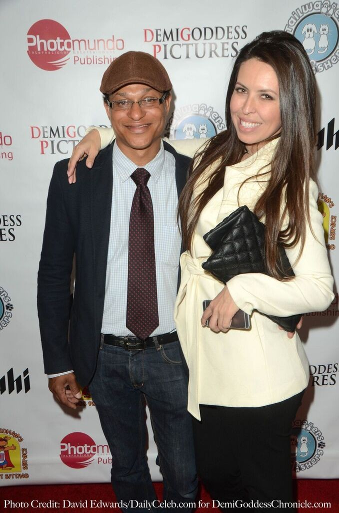 Monster Energy Drink Rep Tiffany Ortega with Publisher Clinton H. Wallace. Photo credit: David Edwards/DailyCeleb.com for DemiGoddessChronicle.com