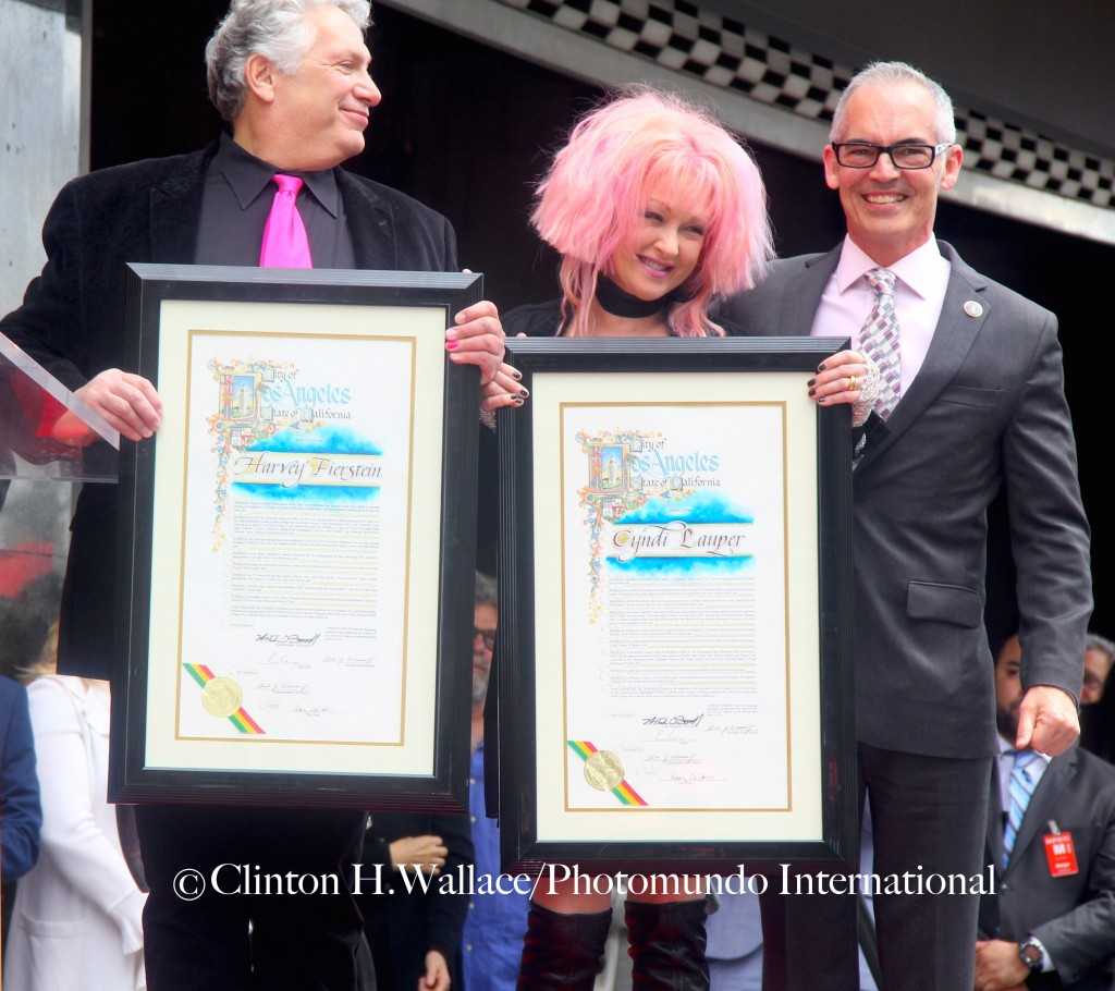 LA Councilman Mitch O'Farrell Presented Harvey Fierstein & Cyndi Lauper with Proclamations ©Clinton H.Wallace/Photomundo International/Demigoddess Chronicle