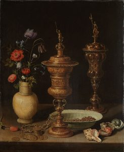 Clara Peeters, Still Life with Flowers and Gold Cups of Honor, 1612, with reflections of the artist on the bosses of the cup at right.