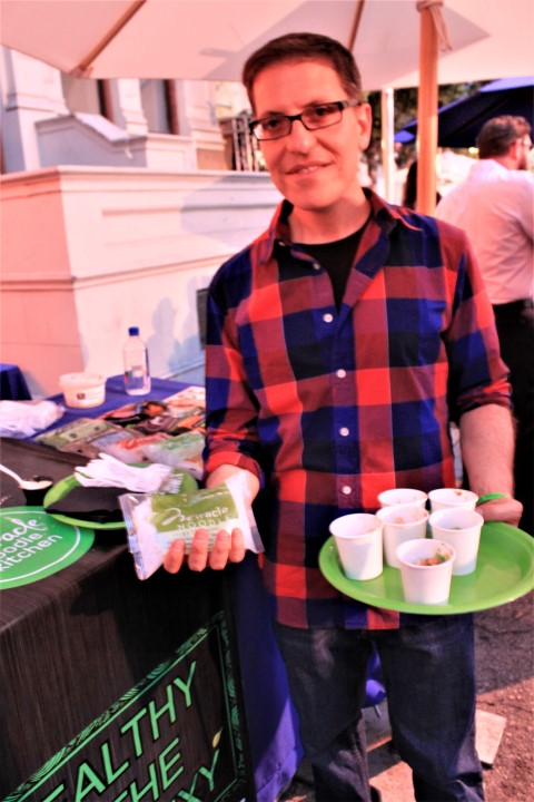 Miracle NOODLE owner Jonathan Carp delivered healthy, gluten free vegan samples of his plant based pasta and rice dishes. Photo credit: DemiGoddessChronicle.com